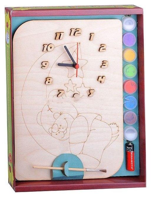 Набор для детского творчества Бемби Часы под роспись Мишутка с красками и кистью фото