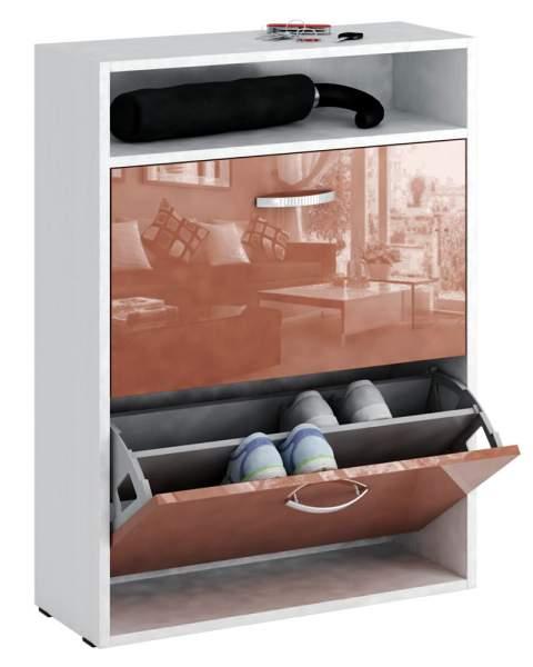 Обувница MFMaster Милан-25 МСТ-ОДМ-25 60х22,2х88,2 см, белый/терракотовый глянец