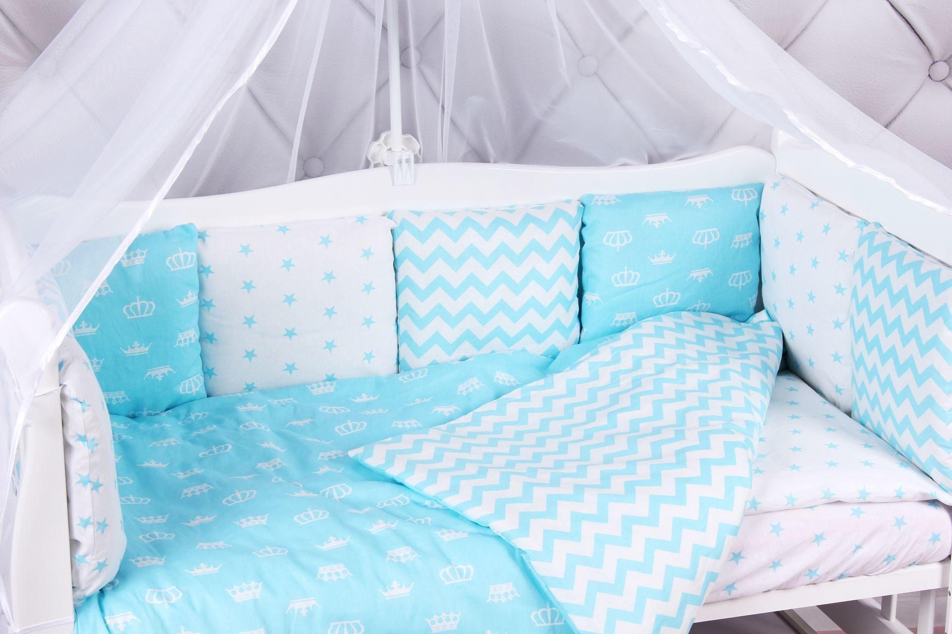 Комплект Premium в кроватку 18 предметов AmaroBaby ROYAL BABY (бязь, бирюзовый)