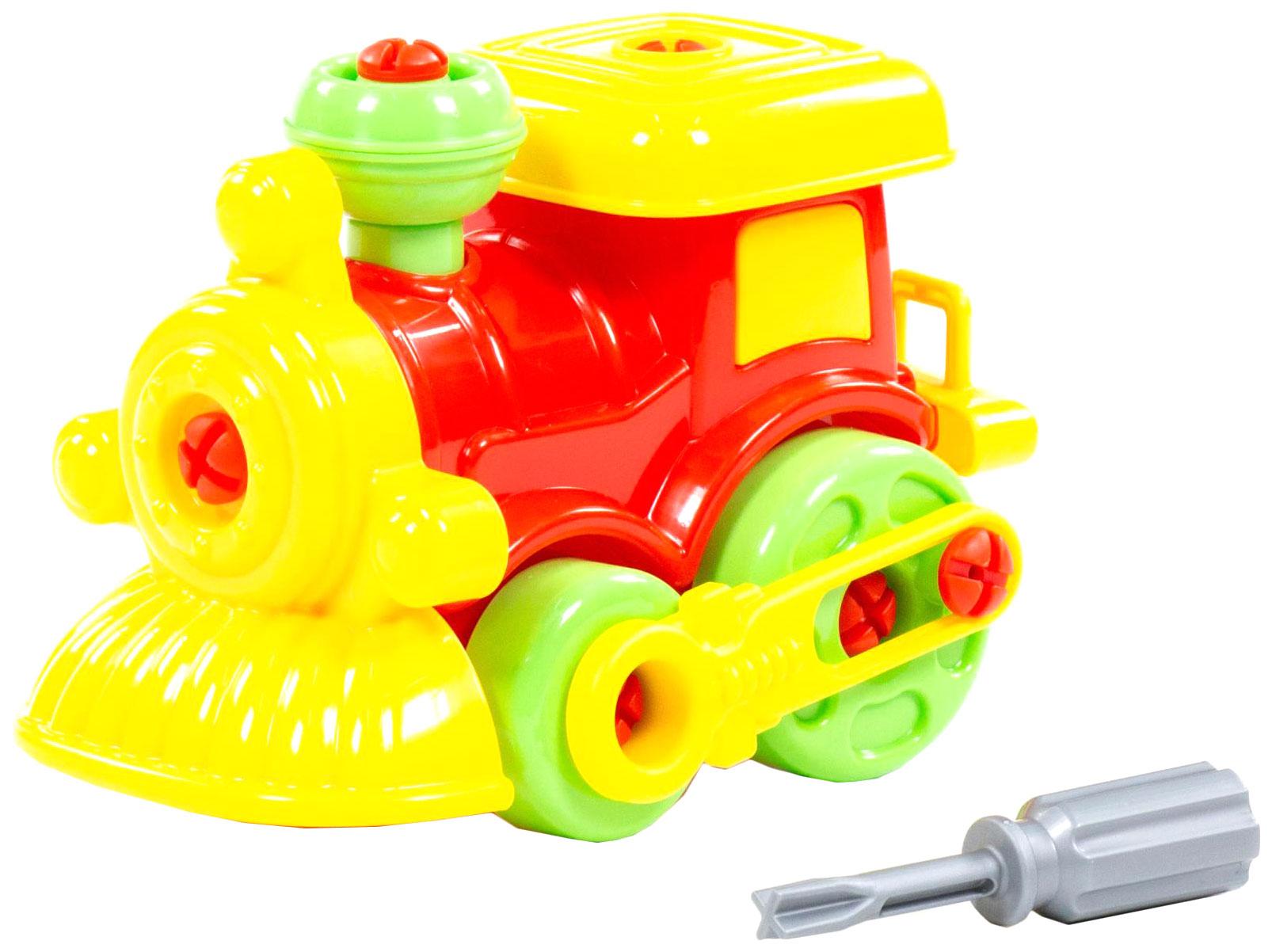Купить Конструктор пластиковый Полесье Паровозик 4601622, Конструкторы пластмассовые