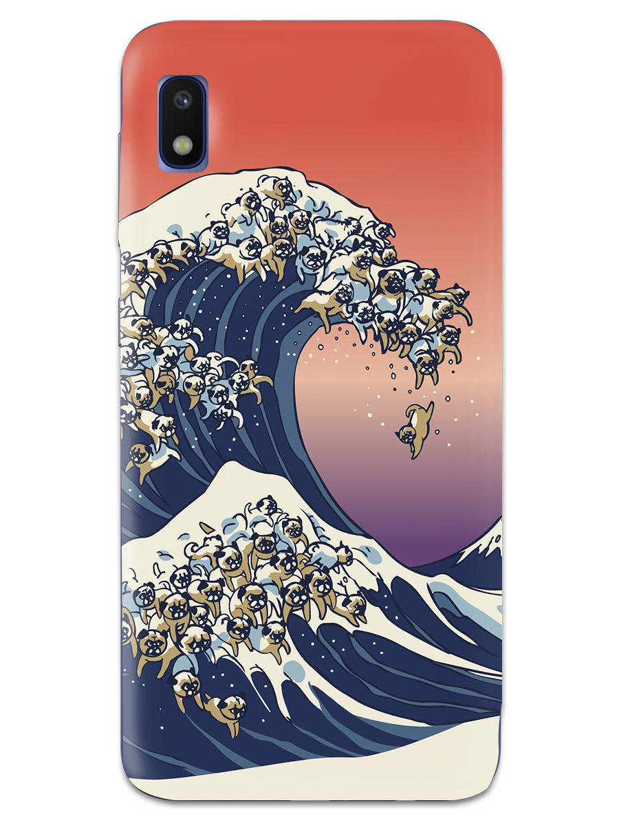 Чехол СМАКС The Great Wave of Pug для Samsung Galaxy A10