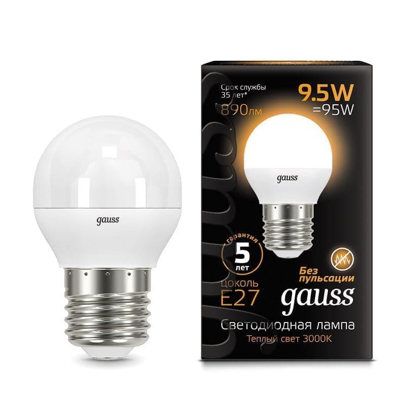 Комплект из 10 светодиодных ламп Gauss LED Globe G45 9.5W E27 3000K 105102110