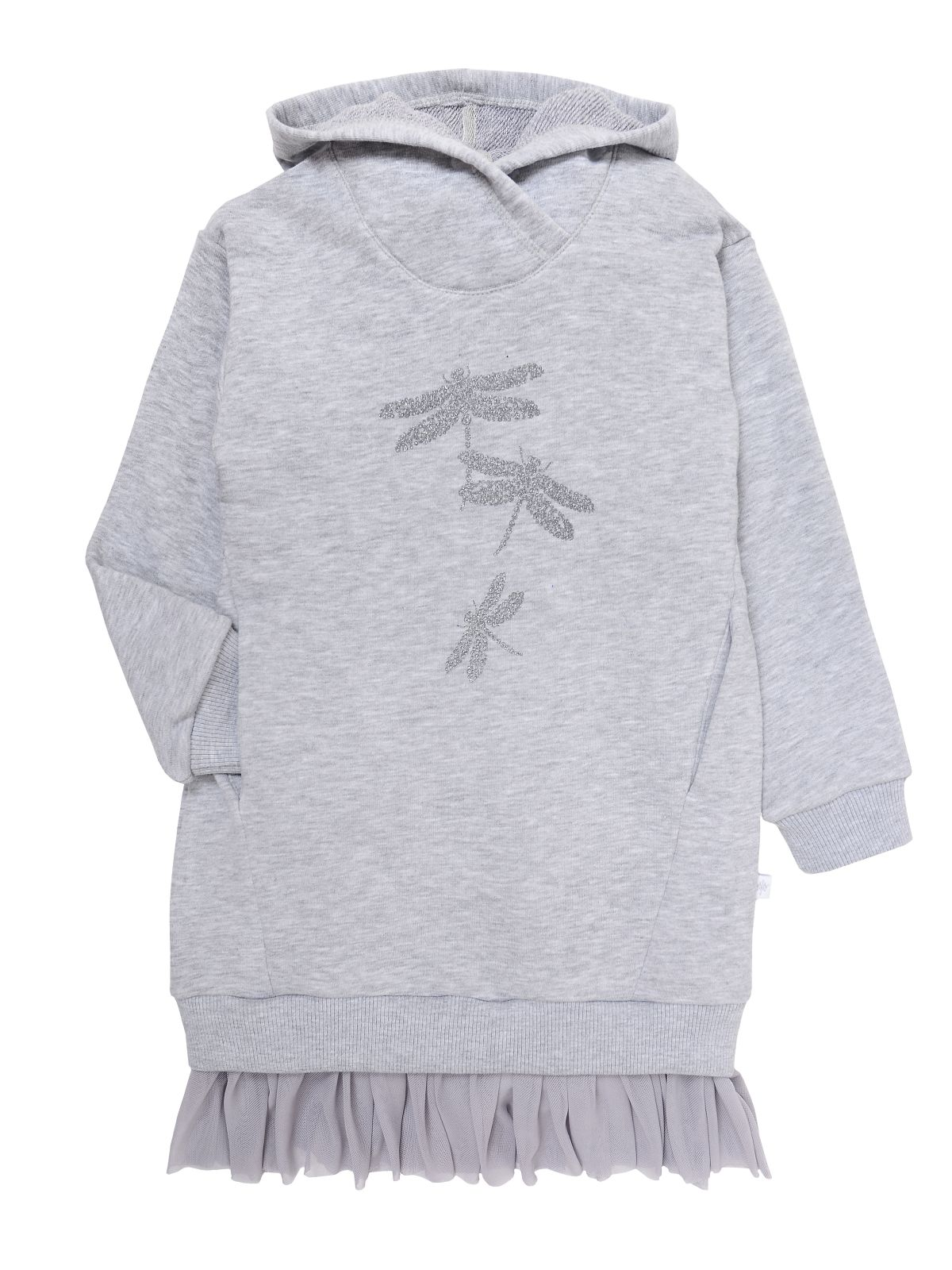 Платье для девочки Мамуляндия 19-835 Футер, Серый меланж р. 122 фото