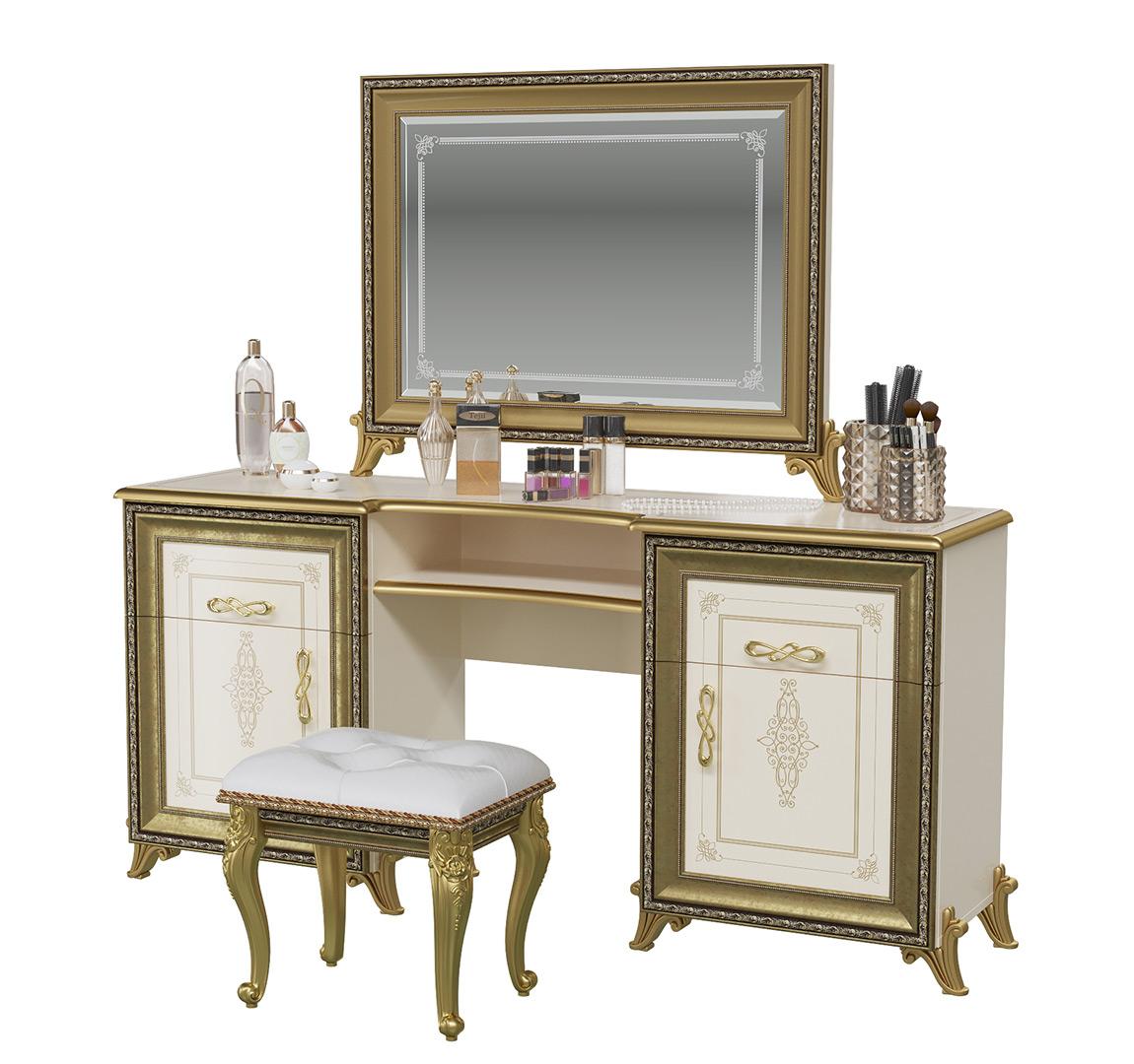 Стол туалетный и пуфом Мэри-Мебель Версаль СВ-07+СВ-08+СВ-09 слоновая кость, 167х43х163