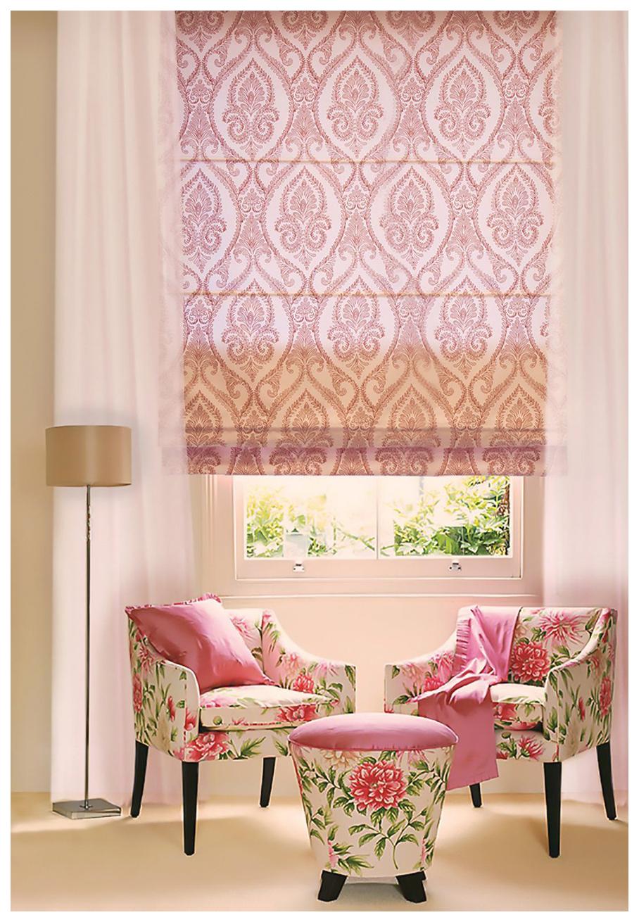 Римская штора Эскар Дамаск 160х100 цвет розовый