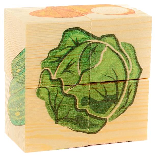 АНДАНТЕ Собери рисунок. Кубики-пазл. ОВОЩИ (4 кубика), арт. Д484а
