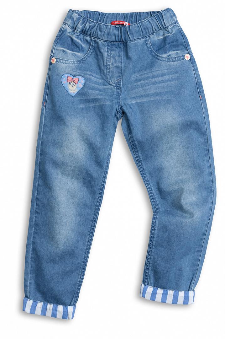 Брюки для девочки Pelican голубой р.110, Детские джинсы  - купить со скидкой