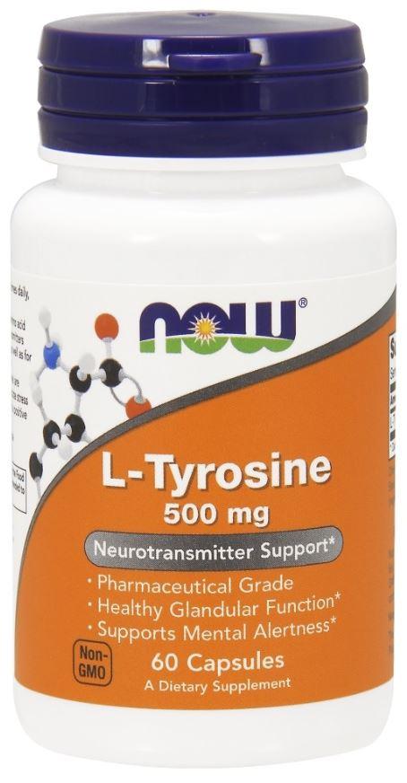 L-тирозин, 606 мг, 60 капсул, NOW фото