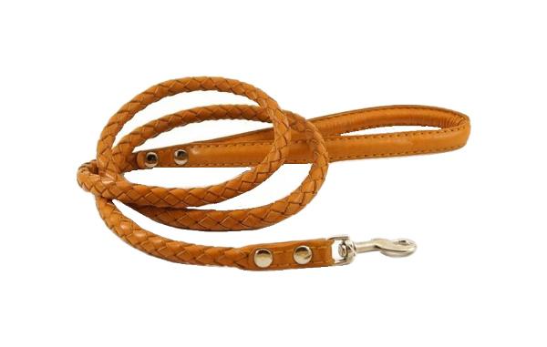 Поводок для собак ZOOMASTER, кожаный, плетеный, рыжий,