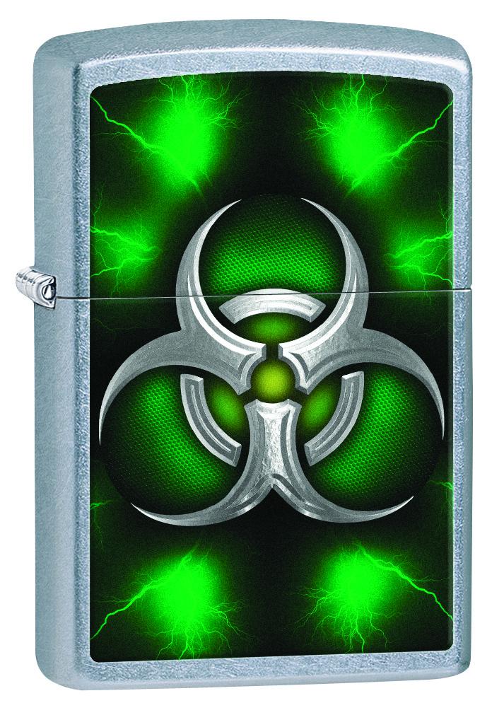 Зажигалка Zippo Biohazard Symbol Green Street Chrome фото