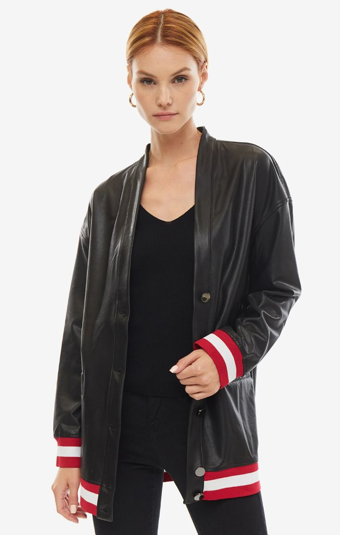 Кожаная куртка женская Guess W93L71-WBG60-JBLK черная/красная/белая XS
