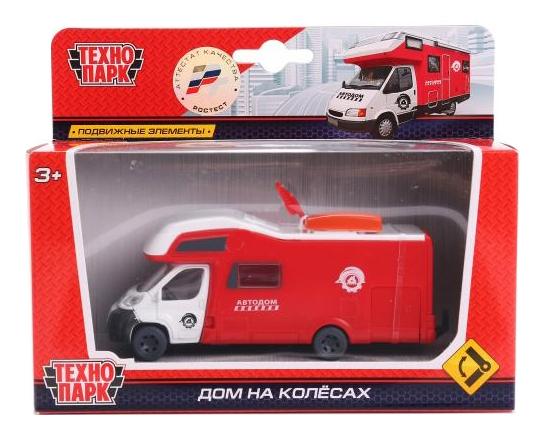 Купить Фургон-Кэмп, Машинка пластиковая Технопарк Дом на колесах красный, Игрушечные машинки