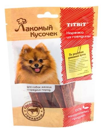 Лакомство для собак TiTBiT Лакомый кусочек, нарезка из говядины, 80г
