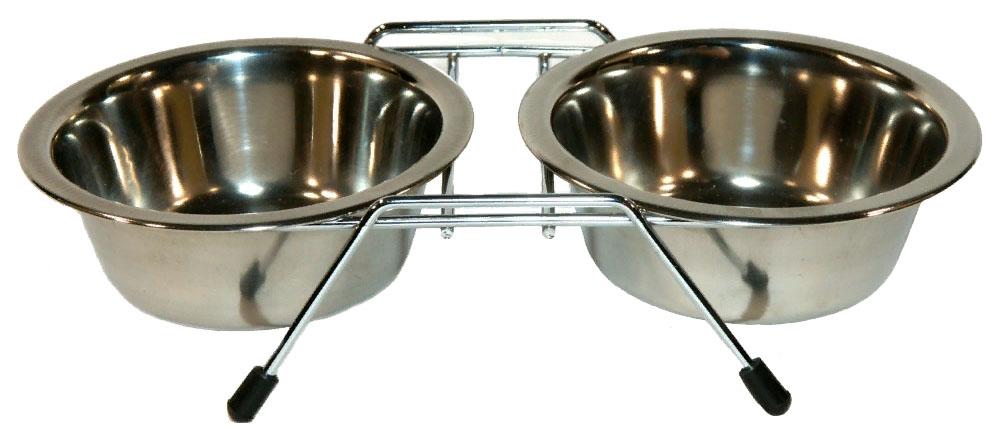 Двойная миска для собак Triol, сталь, серебристый,