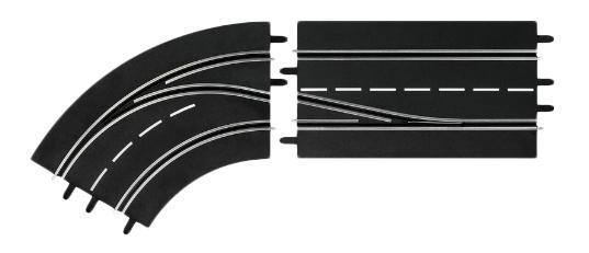 Купить Автотрек Carrera Поворот слева со сменой полосы, с внешней на внутреннюю, Машинки-трансформеры