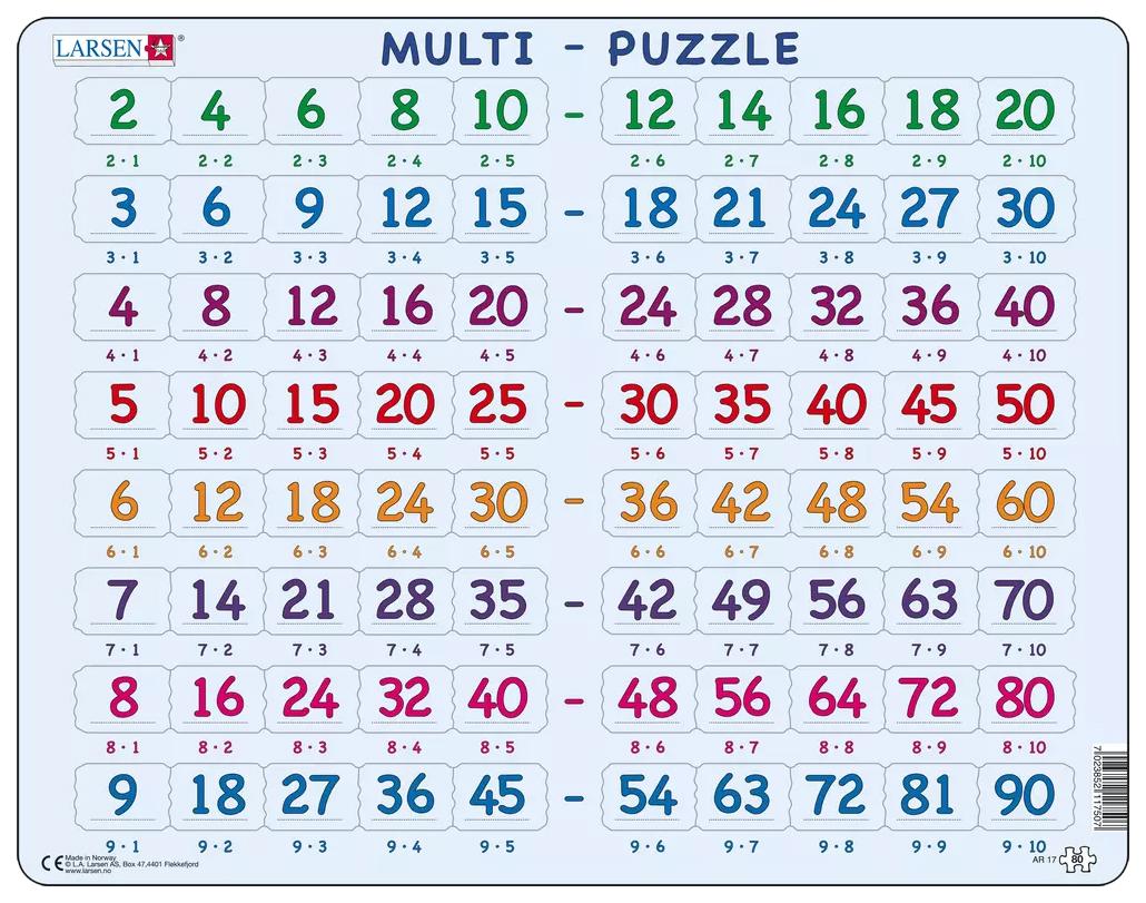 Купить Математика. Умножение, Пазлы Larsen обучающий Математика Умножение 80 элементов AR17
