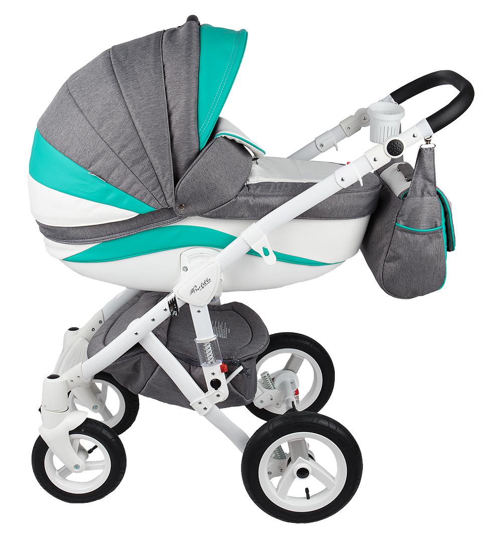 Купить Коляска 3 в 1 Adamex Barletta New мятно-бело-серая GL000502517, Детские коляски 3 в 1