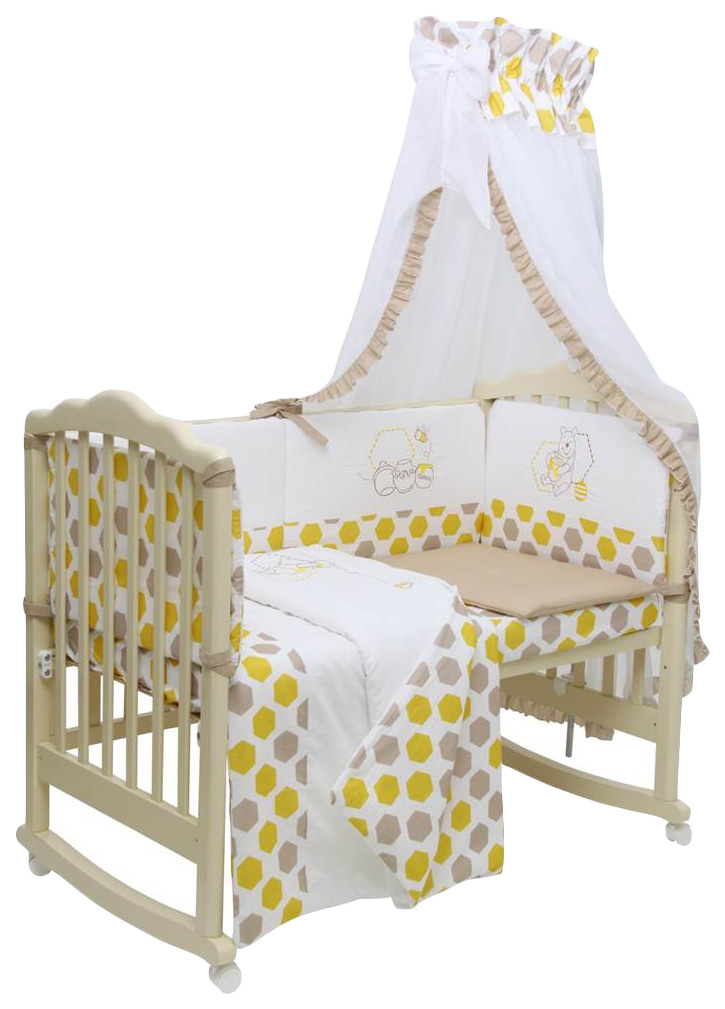 Купить Polini Disney baby Медвежонок Винни и его друзья, макиато-желтый, Комплект постельного белья Polini Disney Медвежонок Винни и его друзья,