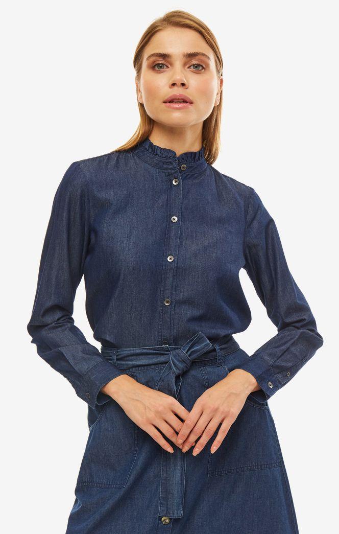 Рубашка женская TOM TAILOR синяя фото