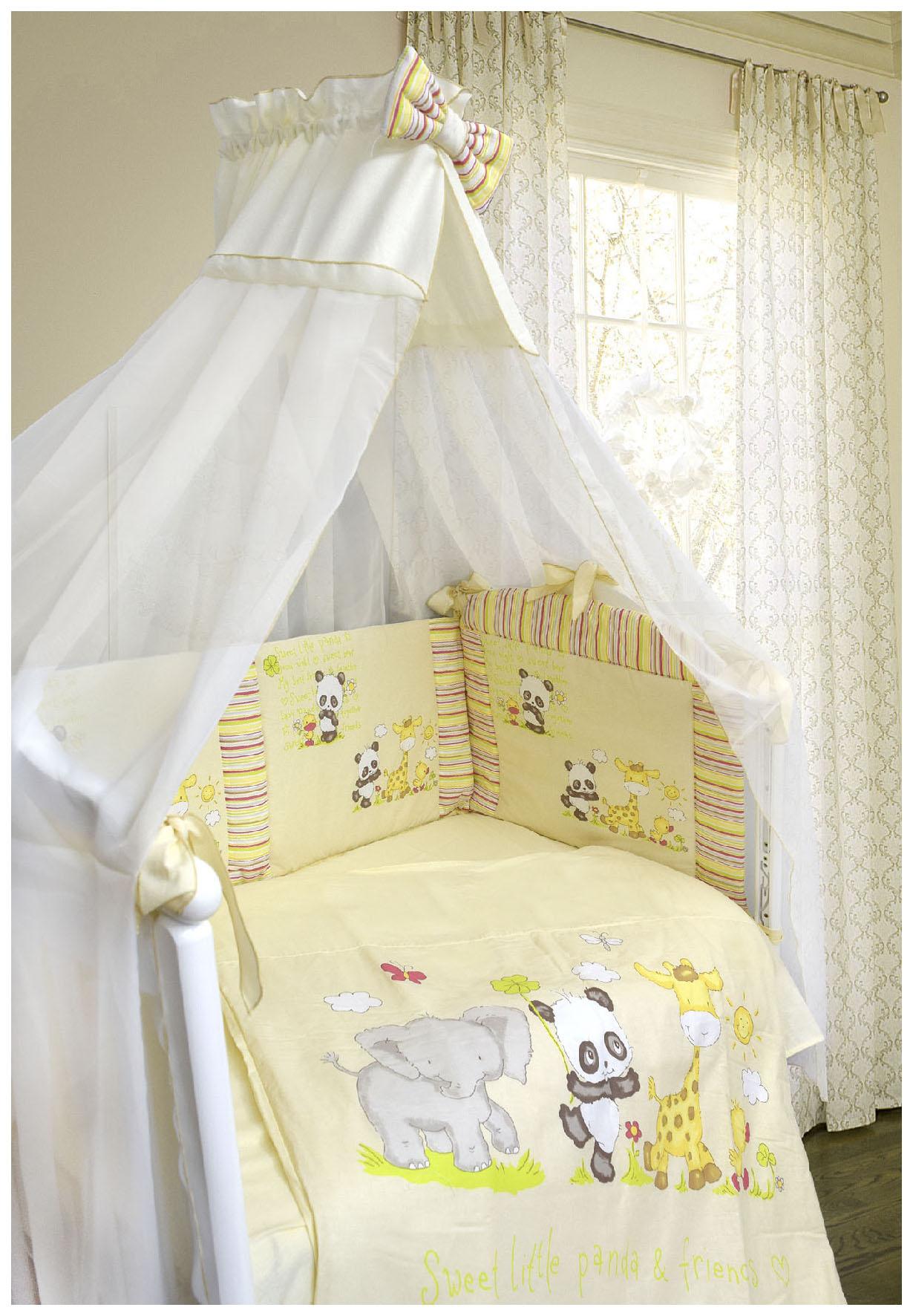 Купить L'ABEILLE Комплект в кроватку Панда с друзьями (7 предметов, цвет: бежевый) УТ0009207, Комплекты детского постельного белья