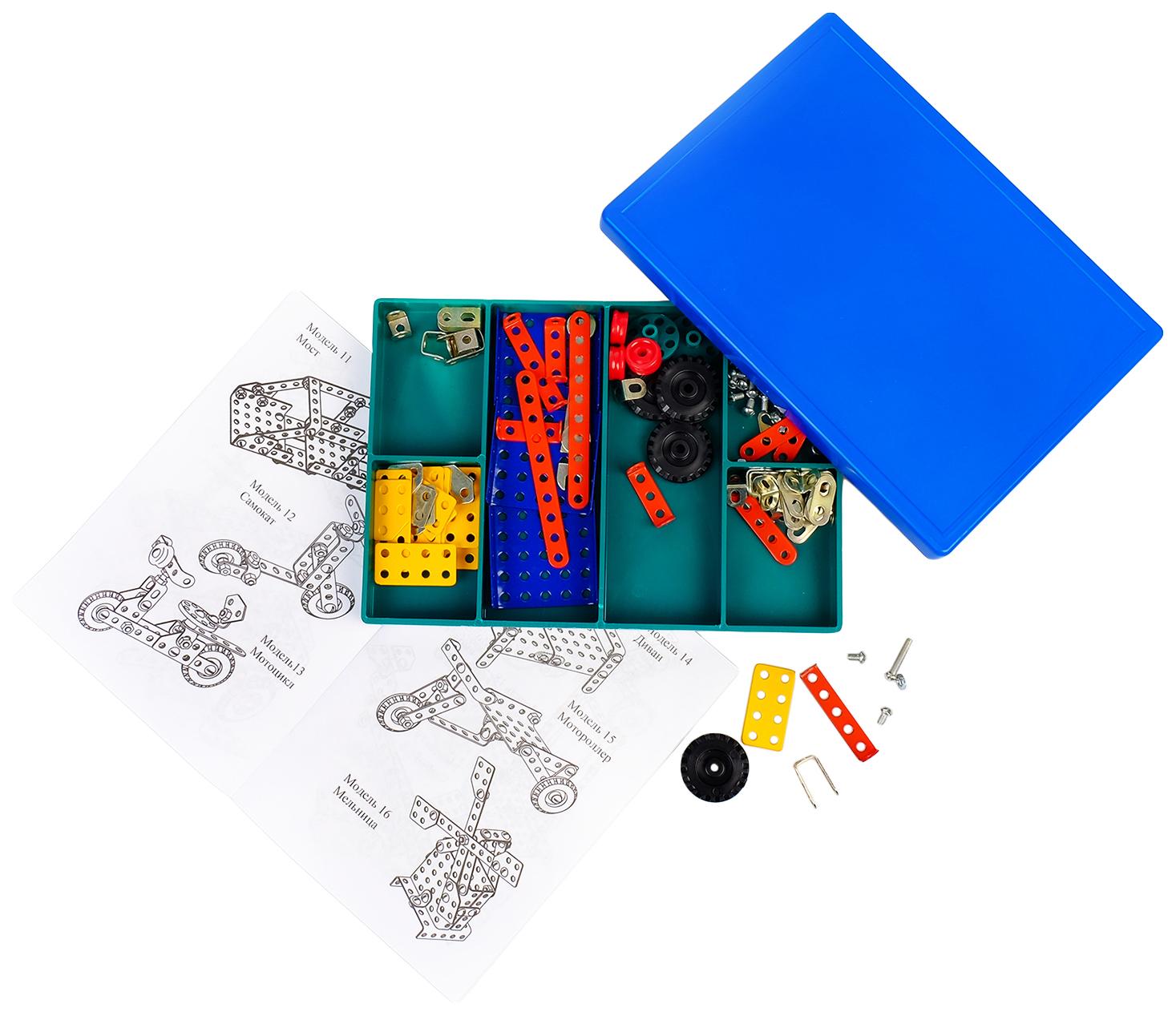 Купить Конструктор Самоделкин 30 , 184 детали, 30 моделей, цветной Самоделкин, Металлические конструкторы