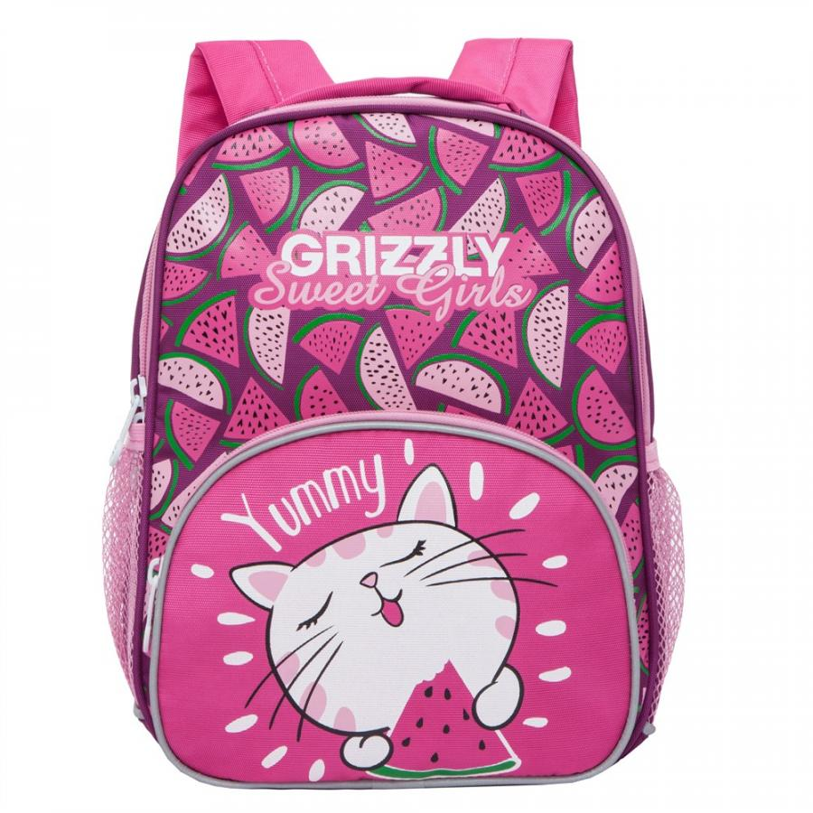 Купить Дошкольный рюкзак для девочки Grizzly Sweet Girl фиолетовый с розовым, Детские рюкзаки