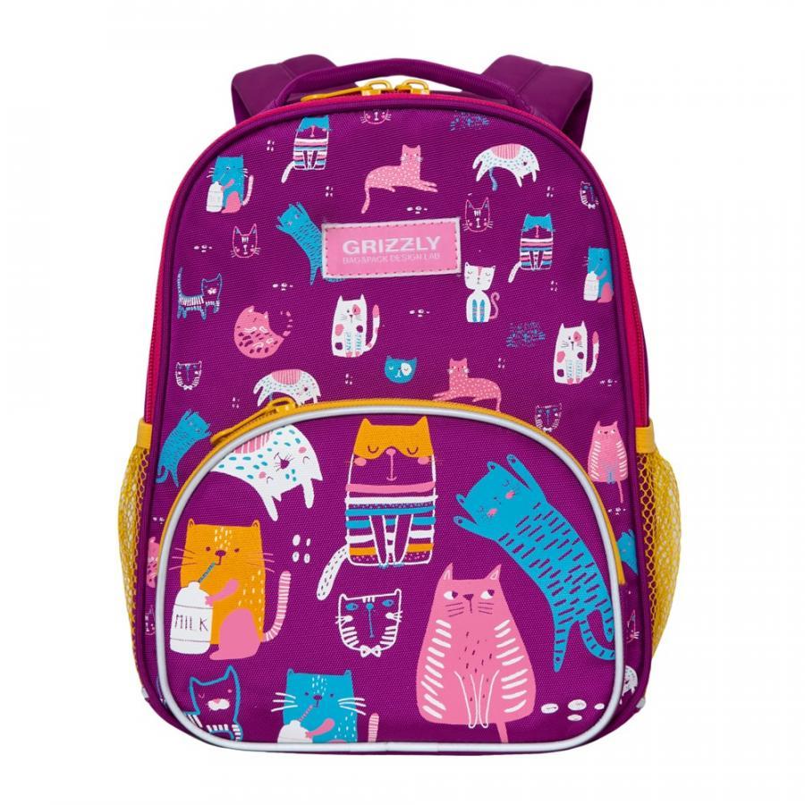 Купить Дошкольный рюкзак для девочки Grizzly фиолетовый с котами, Детские рюкзаки