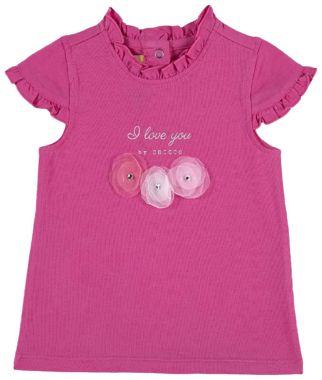Купить 100877-M, Футболка Chicco, размер 086, цветы I love you (розовый), Кофточки, футболки для новорожденных