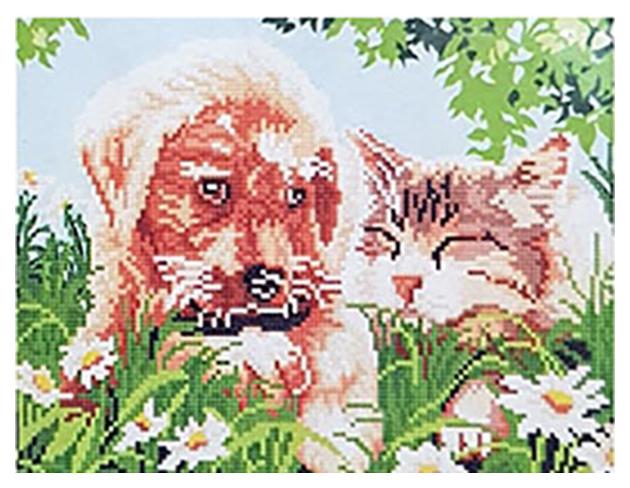 Купить Алмазная мозаика Рыжий кот щенок и котенок 30х40 см ACG027, Мозаики