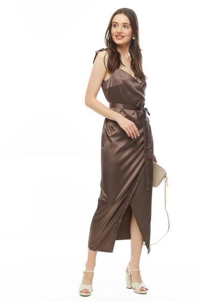 Платье женское Victoria Kuksina Пл123-19 коричневое 46 RU/48 RU