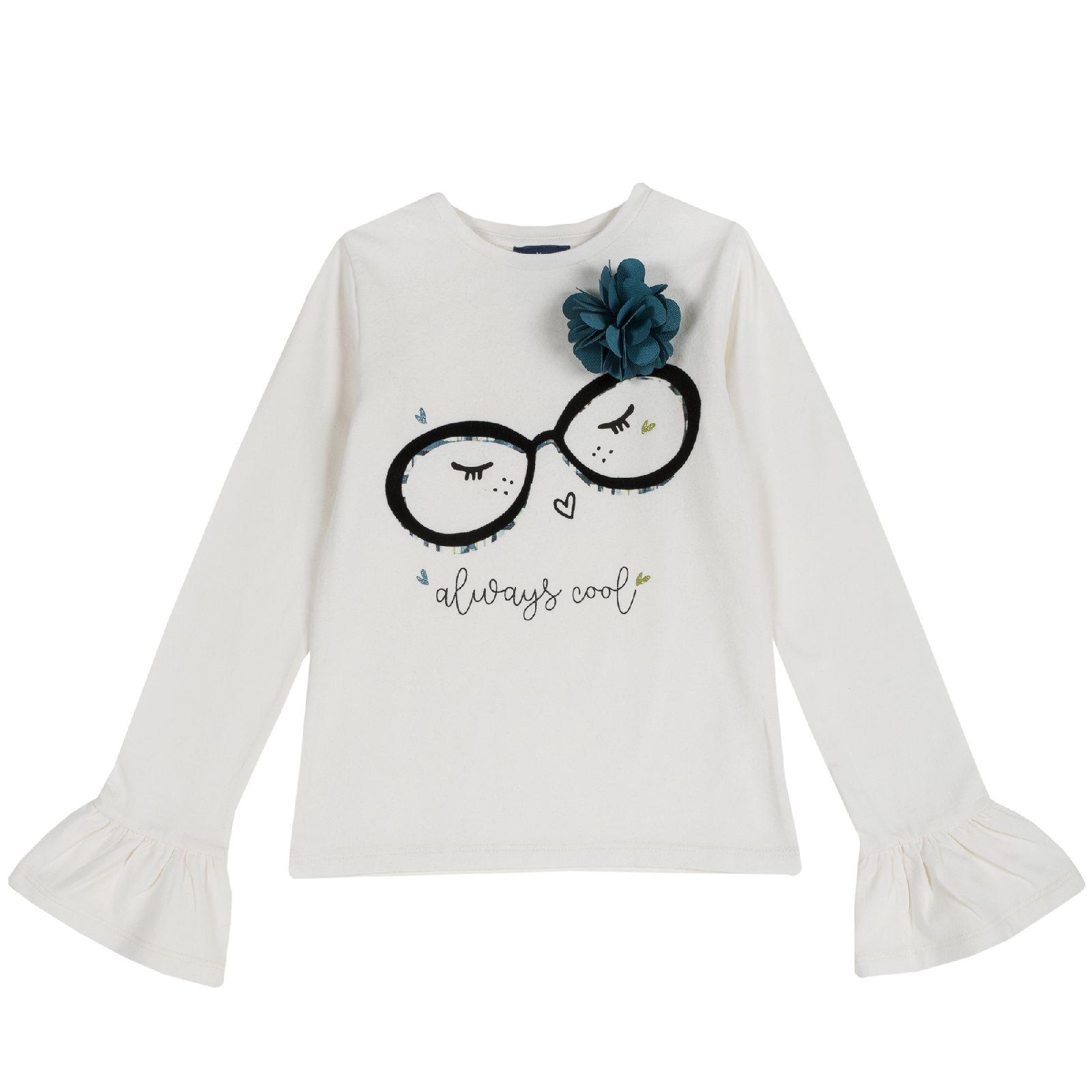Купить 09006514, Лонгслив Chicco, размер 110, принт always cool очки, цвет белый,