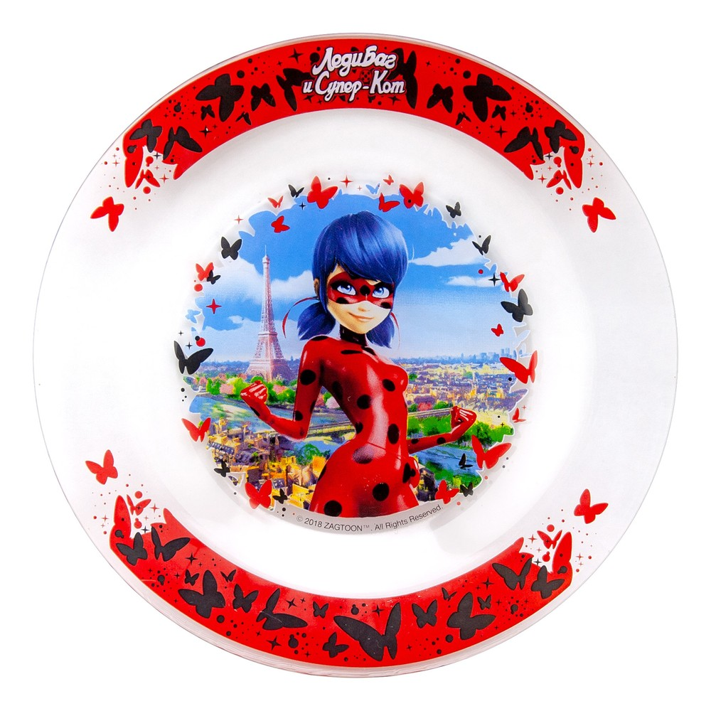 Тарелка ND Play Леди Баг и Супер Кот. Париж-бабочки, 19,5 см, стекло