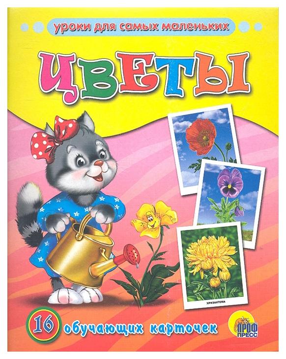 Демонстрационный Материал Обучающие карточки проф-Пресс Цветы (16 карточек)