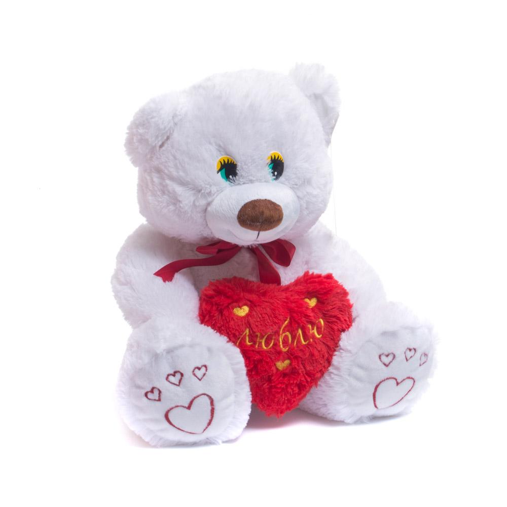 Купить Мягкая игрушка Нижегородская игрушка Медведь маленький с сердцем с вышивкой 45 см, Мягкие игрушки животные