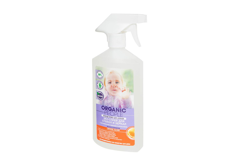 Эко-спрей Organic People для стекол и зеркал с органическим лимоном и апельсином