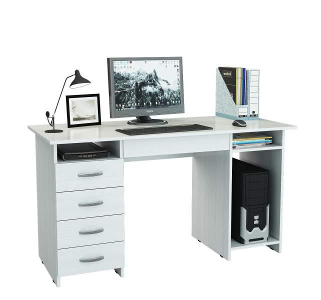 Стол письменный с ящиком МФ Мастер Милан-6Я 60x143,6x75, белый