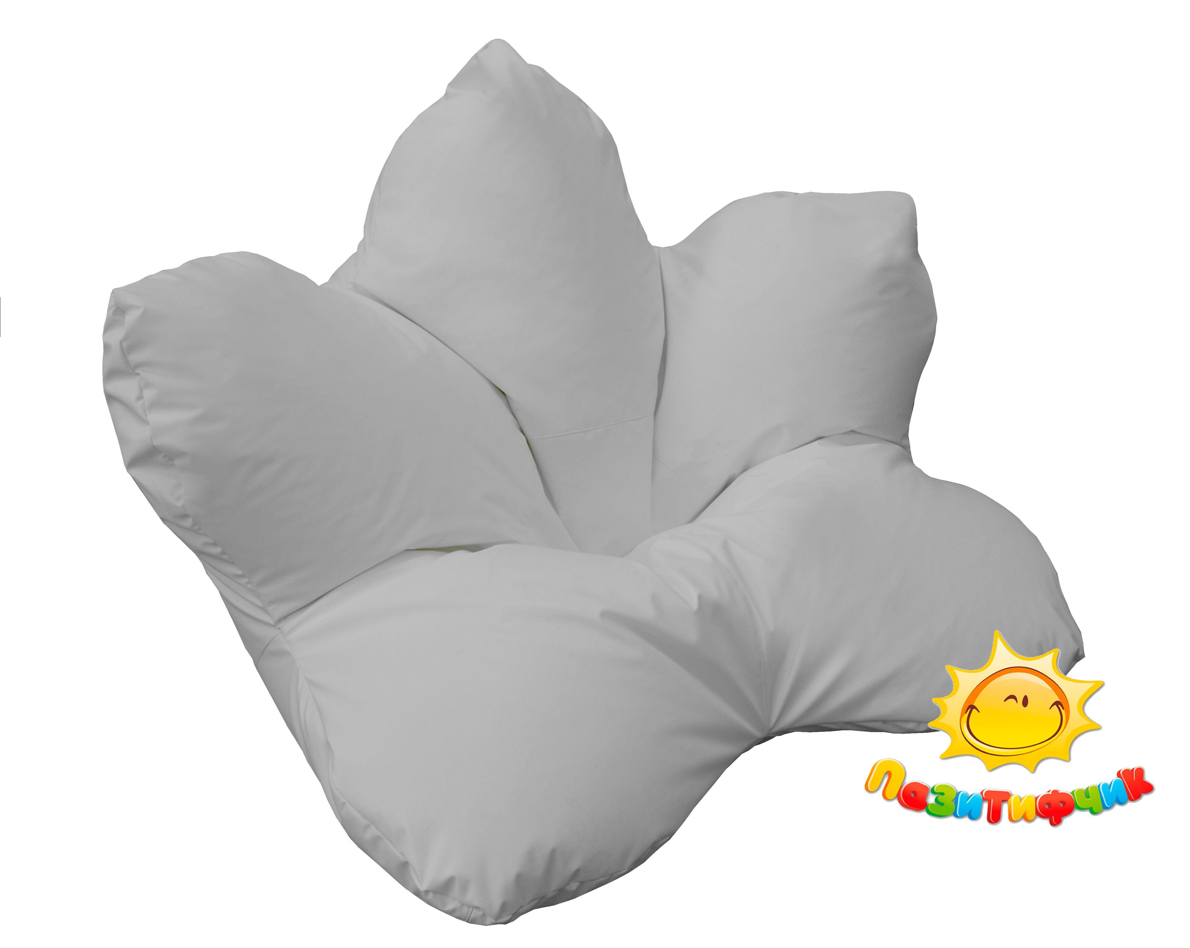 Кресло-мешок Pazitif Цветок Пазитифчик, размер XXXL, экокожа, белый