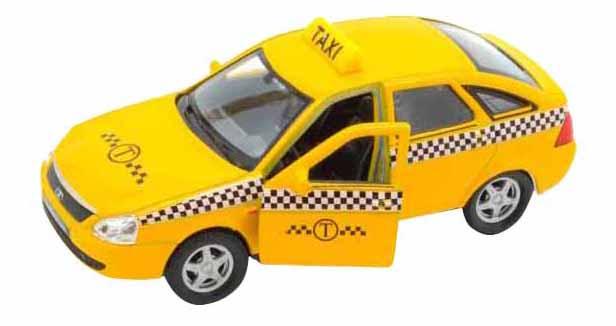 Машинка инерционная Welly 43645TI Модель машины Welly 1:34-39 LADA PRIORA Такси фото