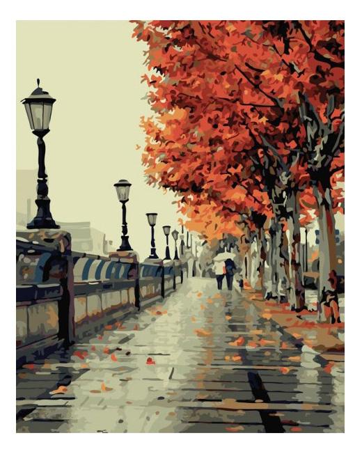 Раскраска по номерам Белоснежка Осенний дождь