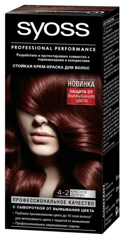 Купить Стойкая крем-краска для волос Syoss Color, 4-2 Красное дерево, 115 мл
