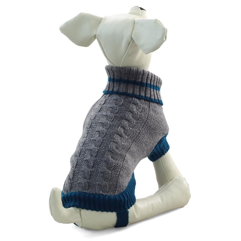 Свитер для собак Triol размер M унисекс, серый, синий, длина спины 30 см фото