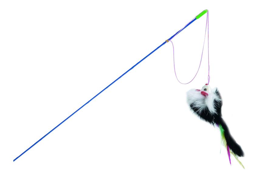 Дразнилка для кошек Beeztees, Искусственный мех, Пластик, Текстиль, Перо, 46 см фото