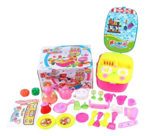 Купить 696550, Детская кухня Shantou Gepai плита с набором посуды и продуктами 3807-2