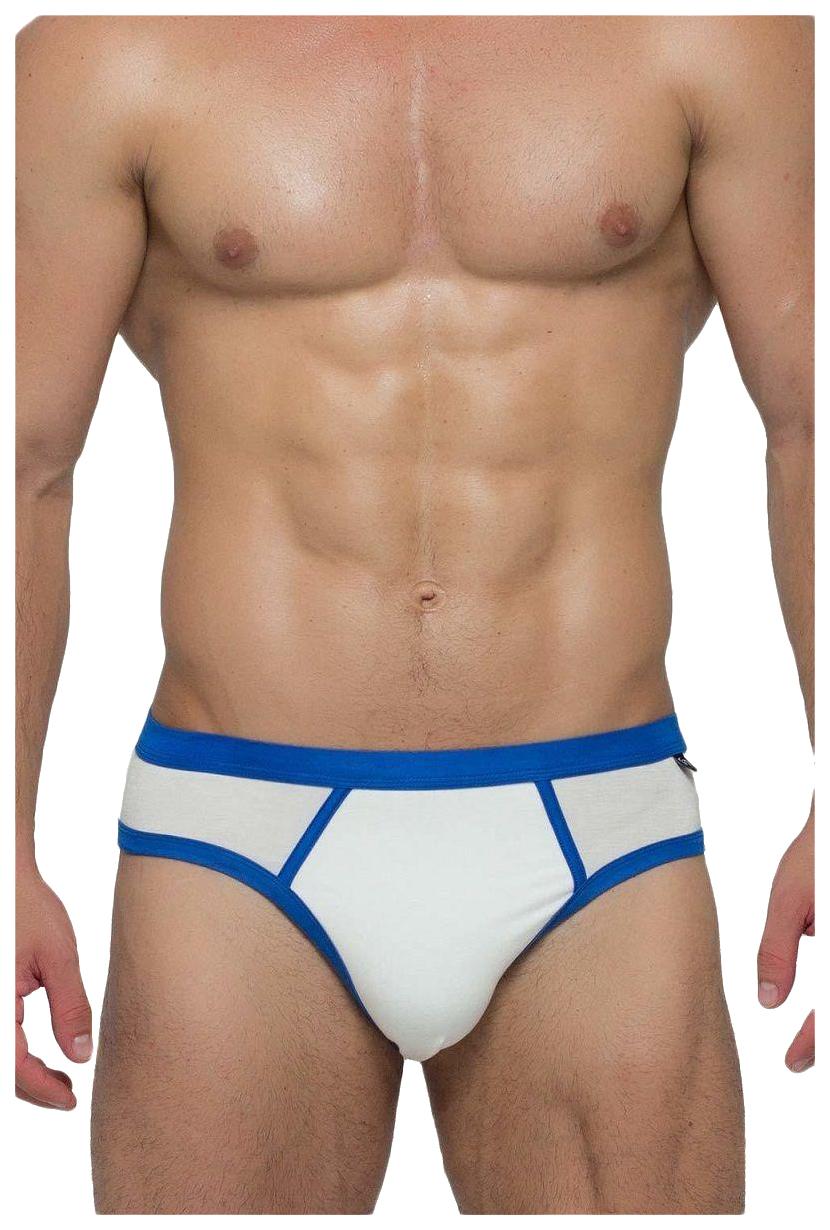 Мужские трусы-слипы с яркой тесьмой, белые с синим (M)