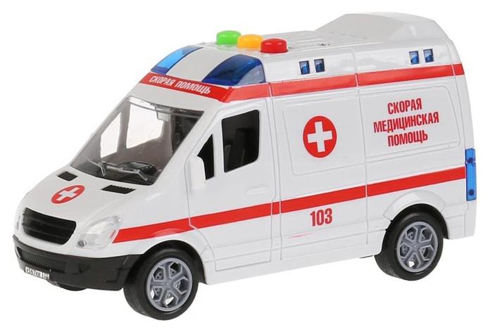 Купить Машина «Микроавтобус Скорая», инерционная, 15, 5 см, световые и звуковые эффекты Технопарк, Спецслужбы