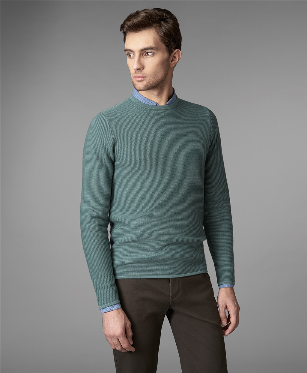 Пуловер мужской HENDERSON KWL-0685-1 зеленый 50 RU фото