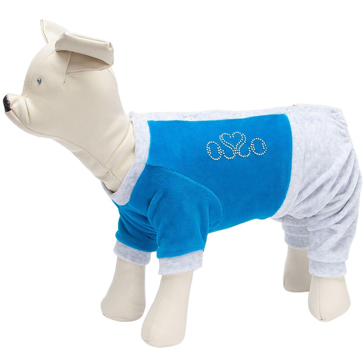 Костюм для собак OSSO Fashion, спортивный, велюр, мужской, синий, 28