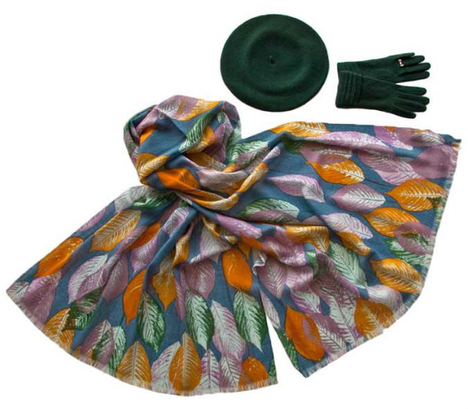 Комплект (берет, палантин, перчатки) Tonak/Tranini 45077 зеленый фото