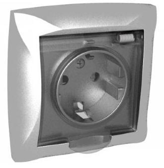 Розетка 1м с/з шторками с крышкой серебристый IP44 Schneider Electriс Дуэт 21601