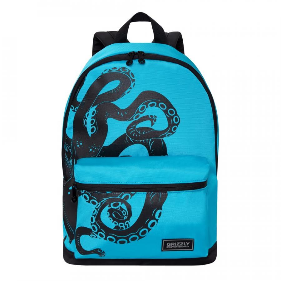 Городской рюкзак Grizzly голубой - черный